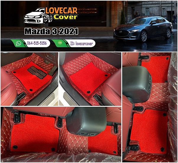 พรมรถยนต์ 7D สีแดงไวน์ + ไวนิลสีแดง Mazda 3 2021