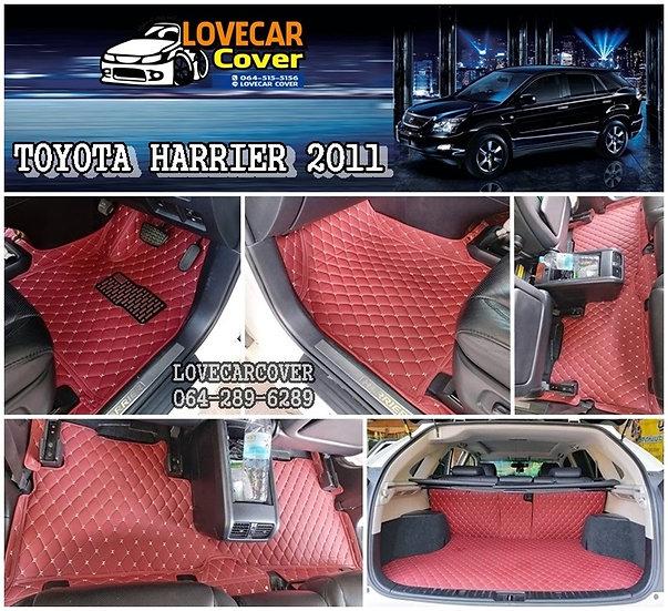 พรมปูพื้นรถยนต์ 6D สีแดงไวท์ Toyota Haprier 2011