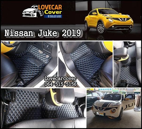 พรมรถยนต์ 6D สีดำด้ายฟ้า Nissan Juke 2019