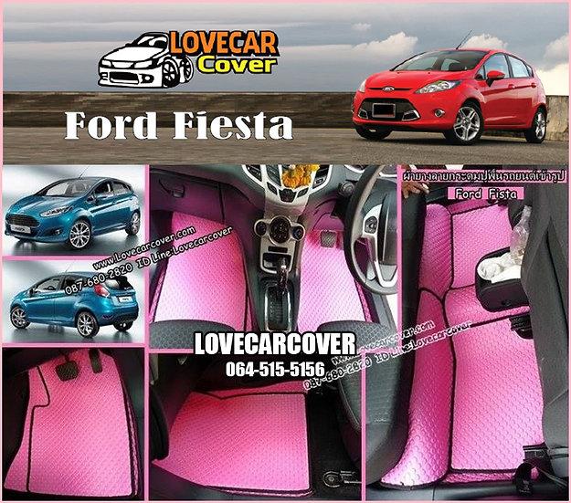 ผ้ายางกระดุมใหญ่ EVA สีชมพูขอบสีดำ Ford Fiesta