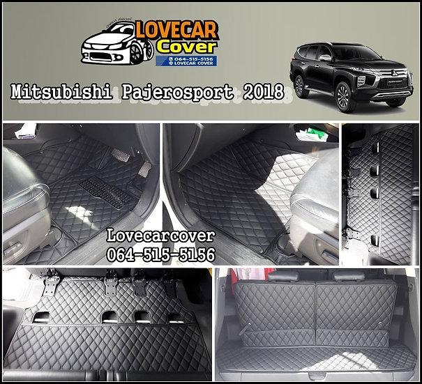 พรมปูพื้นรถยนต์ 6D สีดำล้วน Mitsubishi Pajero Sport 2018
