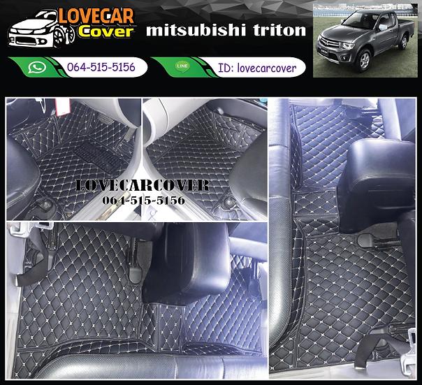 พรมปูพื้นรถยนต์ 6D สีดำด้ายทอง mitsubishi triton