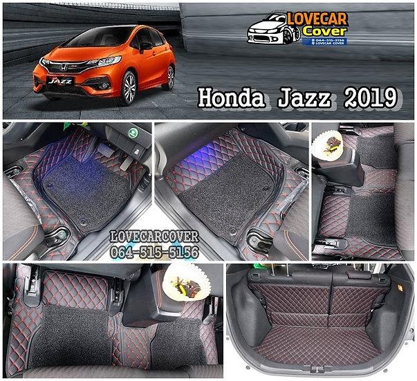 พรมรถยนต์ 7D สีดำด้ายแดง+ไวนิลดำ Honda Jazz 2019