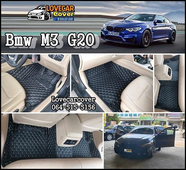 พรมรถยนต์ 6D สีดำด้ายครีม BMW M3 G20