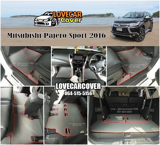 ผ้ายางกระดุมใหญ่ EVA สีเทาขอบสีแดง Mitsubishi Pajero Sport 2016