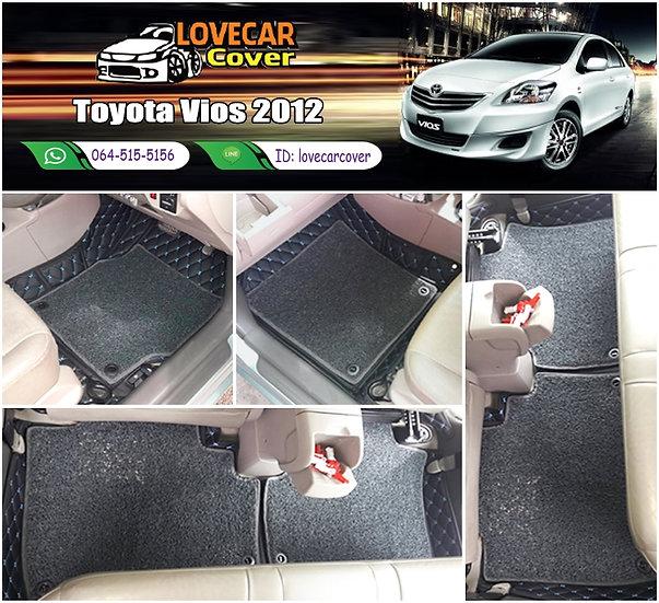 พรมรถยนต์ 7D สีดำด้ายฟ้า+ไวนิลสีเทา Toyota Vios 2012