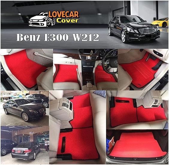 พรมดักฝุ่นรถยนต์ (พรมไวนิล) สีแดงขอบดำ Benz E300 W212