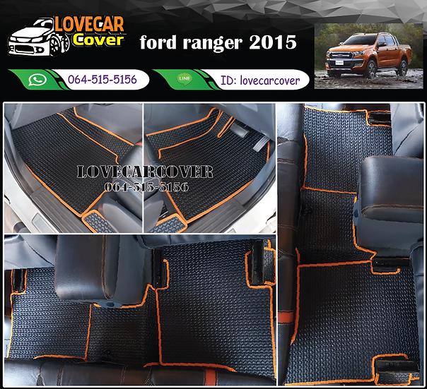 ผ้ายางลายธนู EVA สีดำขอบส้ม Ford ranger 2015