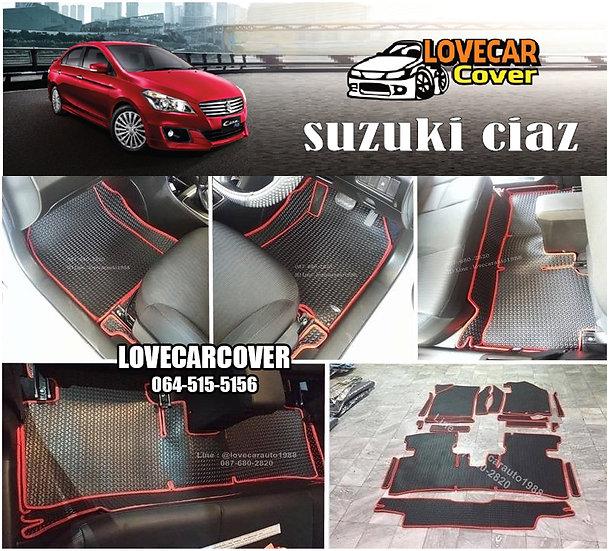 ผ้ายางลายธนู EVA สีดำขอบแดง Suzuki Ciaz