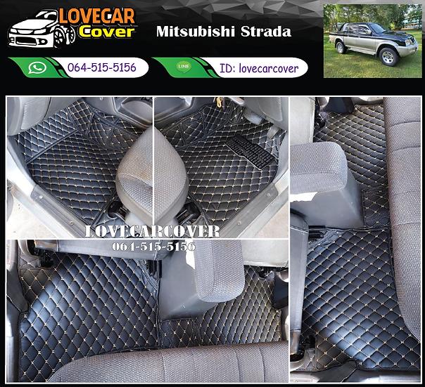 พรมรถยนต์ 6D สีดำด้ายทอง Mitsubishi Strada