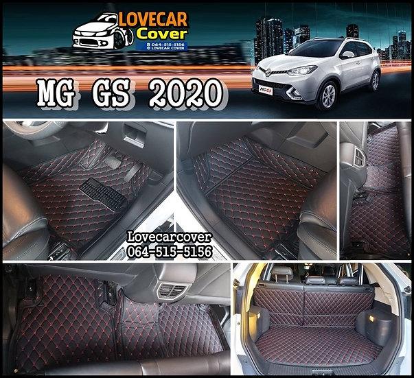 พรมปูพื้นรถยนต์ 6D สีดำด้ายแดง MG GS 2020