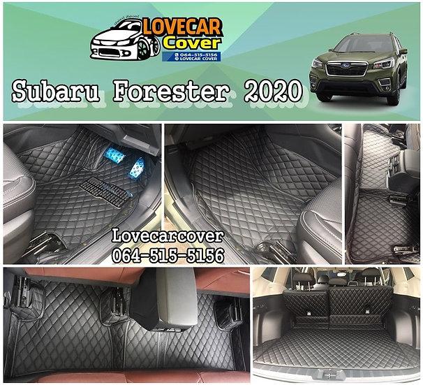 พรมปูพื้นรถยนต์ 6D สีดำล้วน Subaru Forester 2020