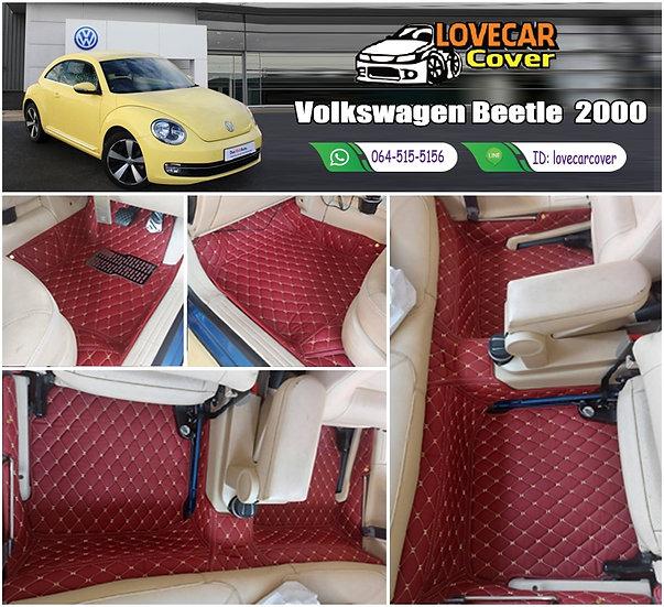 พรมรถยนต์ 6D สีแดงไวน์ Volkswagen Beetle 2000