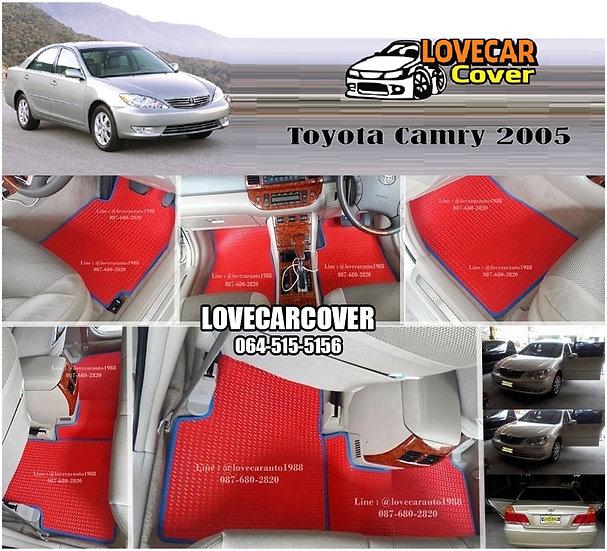 ผ้ายางกระดุมใหญ่ EVA สีแดงขอบสีฟ้า Toyota Camry 2005