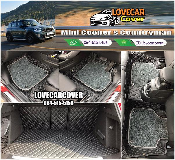 พรมรถยนต์ 7D สีดำล้วน + ไวนิลสีเทา Mini cooper s countryman