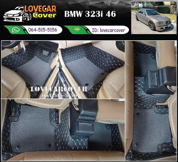พรมรถยนต์ 7D สีดำด้ายทอง+ไวนิลสีเทา BMW 323i 46