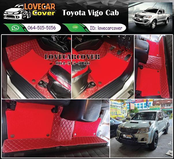 พรมรถยนต์ 7D สีแดงไวน์+ไวนิลสีแดงสด Toyota Vigo Cab