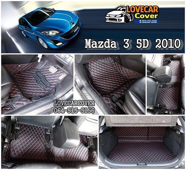 พรมรถยนต์ 6D สีดำด้ายแดง Mazda 3 5D 2010