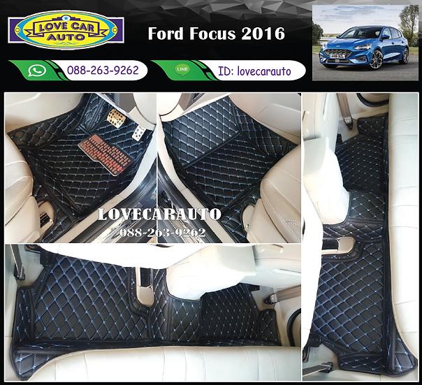 พรมรถยนต์ 6D สีดำด้ายฟ้า Ford Focus 2016