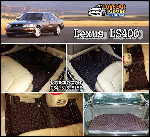 พรมรถยนต์ 6D สีดำด้ายแดง  Lexus LS400