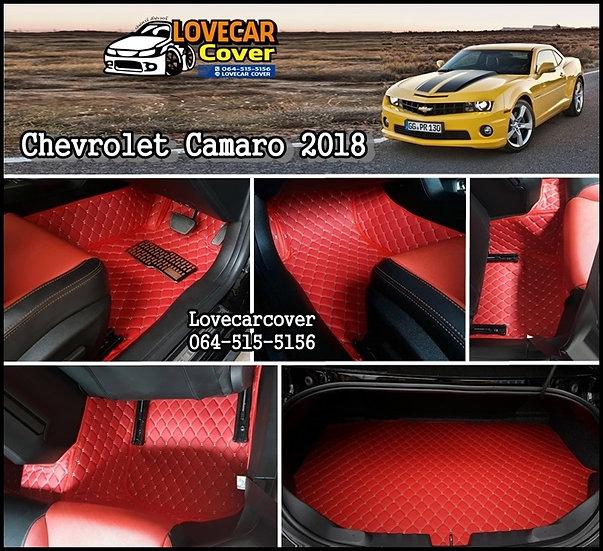 พรมปูพื้นรถยนต์ 6D สีแดงไวน์ Chevrolet Camaro 2018