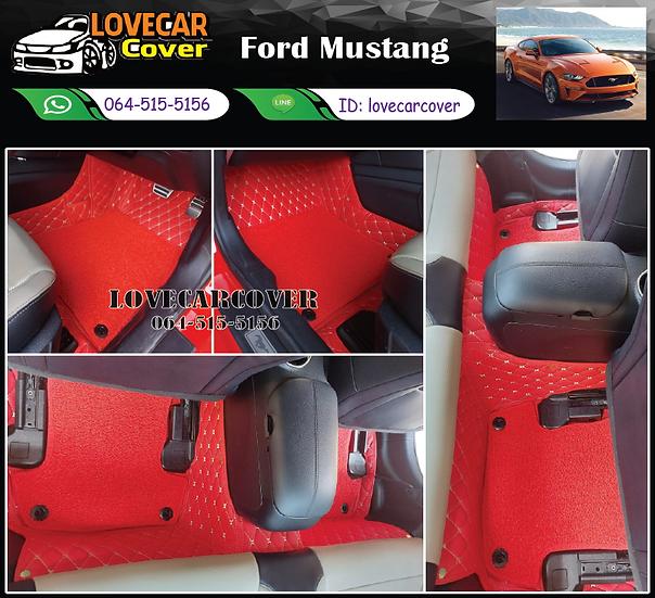 พรมรถยนต์ 7D สีแดงสด+ไวนิลสีแดง Ford Mustang