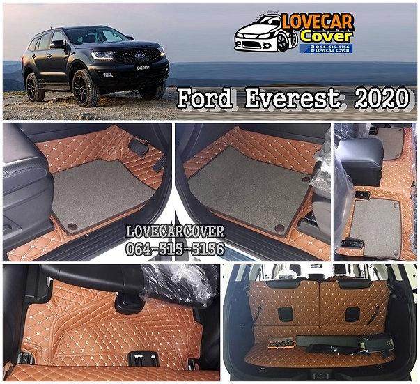 พรมรถยนต์ 7D สีน้ำตาลเข้ม+ไวนิลสีน้ำตาล Ford Everest 2020