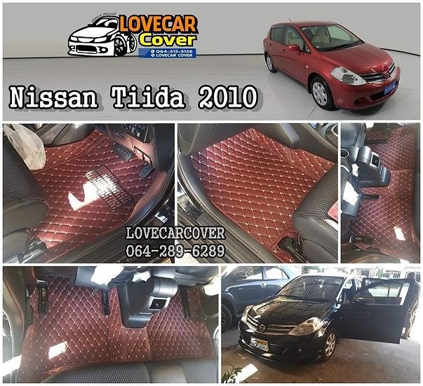 พรมรถยนต์ 6D สีแดงไวน์ Nissan Tiida 2010