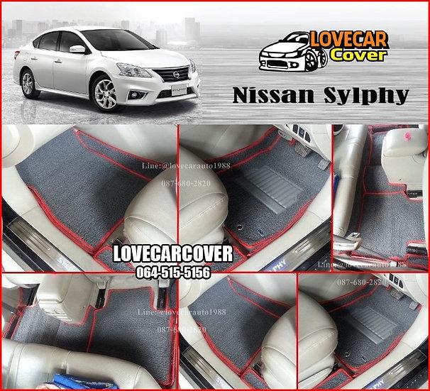พรมดักฝุ่นรถยนต์ (พรมไวนิล) สีเทาขอบสีแดง Nissan Sylphy