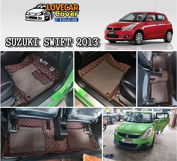 พรมปูพื้นรถยนต์ 7D สีกาแฟ+ไวนิลน้ำตาล Suzuki Swift 2013