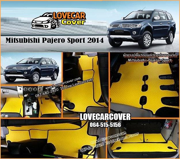 ผ้ายางกระดุมใหญ่ EVA สีเหลืองขอบสีดำ Mitsubishi Pajero Sport 2014