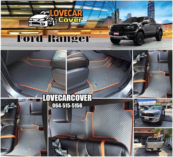 ผ้ายางกระดุมใหญ่ EVA สีเทาขอบสีส้ม Ford Ranger
