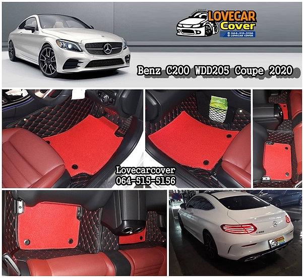 พรมปูพื้นรถยนต์ 7D สีดำด้ายแดง+ไวนิลแดง Benz C200 W205 coupe