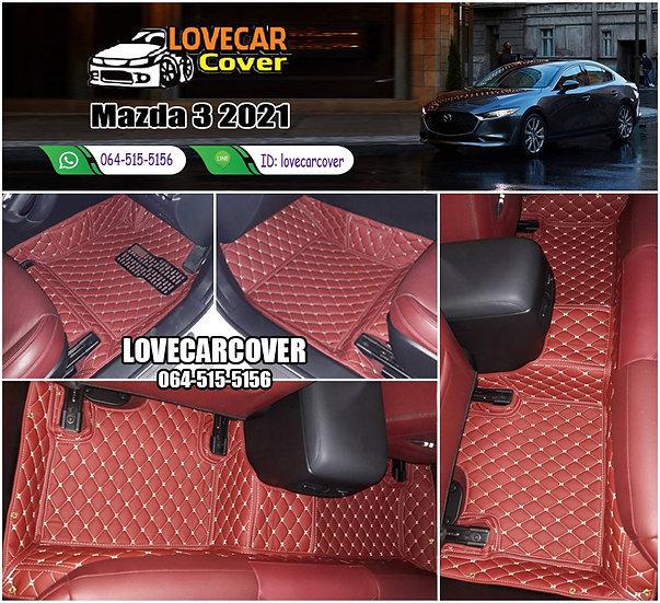 พรมรถยนต์ 6D สีแดงไวน์ Mazda 3 2021