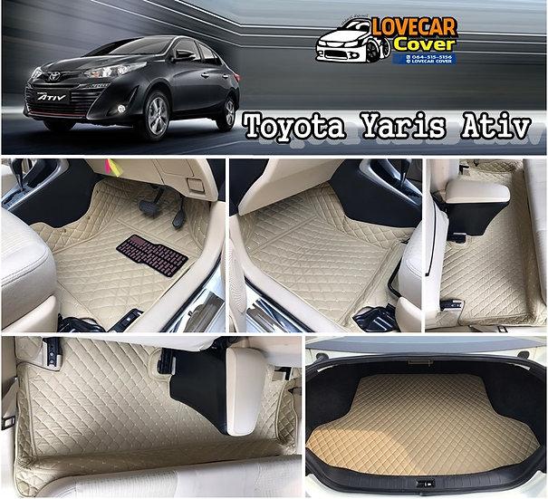 พรมปูพื้นรถยนต์ 6D สีครีม Toyota Yaris ativ