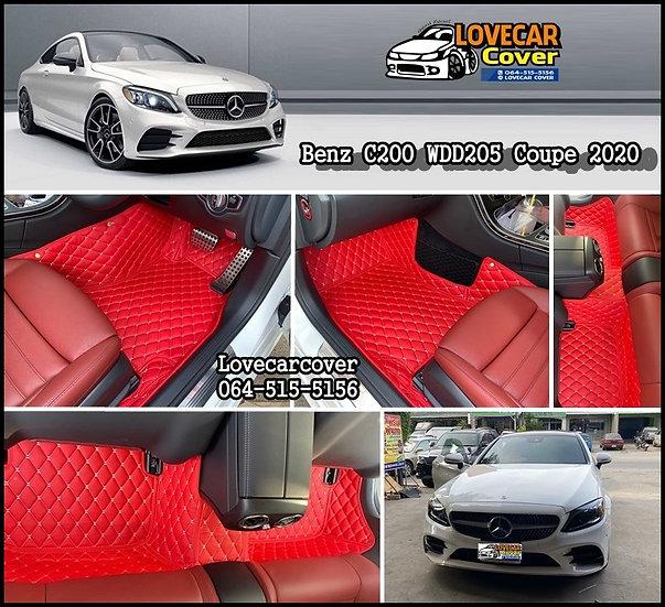 พรมปูพื้นรถยนต์ 6D สีแดงสด Benz C200 WDD205 coupe 2020