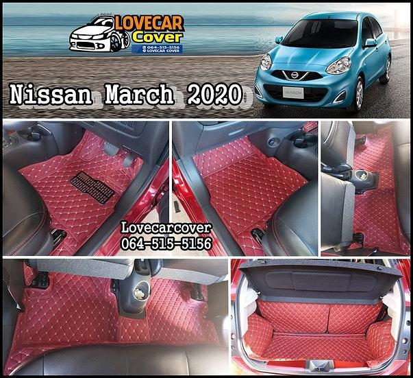 พรมปูพื้นรถยนต์ 6D สีแดงไวท์ Nissan March 2020