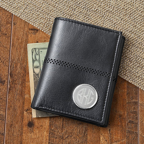 Black Leather Tri-Fold Wallet