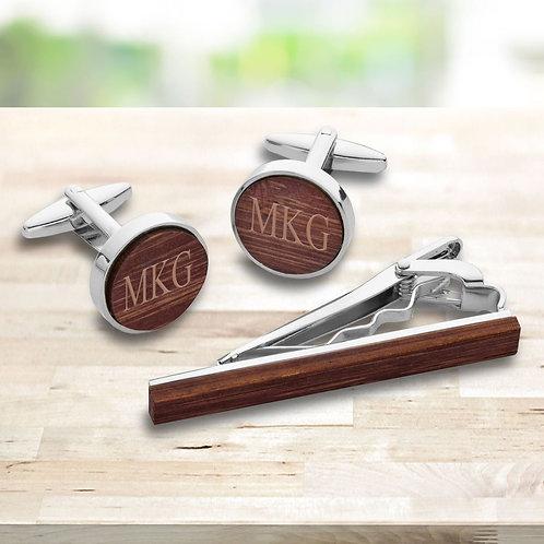 Walnut Wood Cufflinks and Tie Clip Set