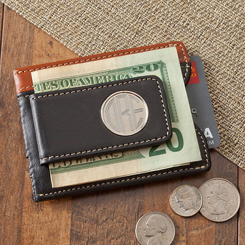 Two-Toned Leather Magnetic Money Clip