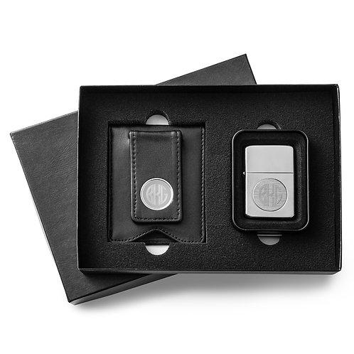 Black Leather Wallet/Chrome Lighter Set