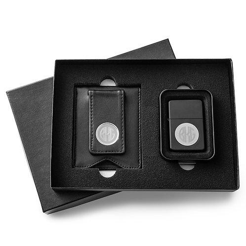 Black Leather Wallet/Black Lighter Set