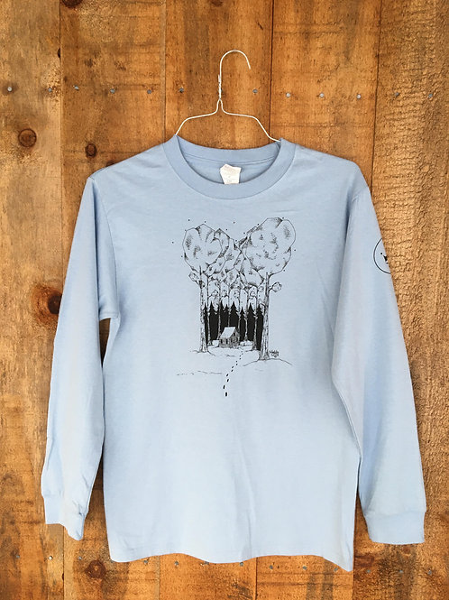 Cabin in the Woods 2017 - Unisex Small, Light Blue Long Sleeve