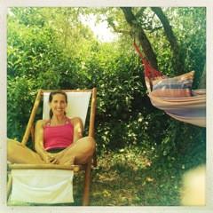 Stephanie McQuillian relaxing and recharging in the Suncokret garden