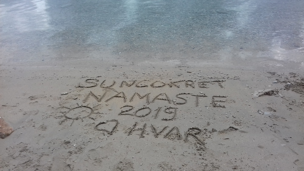 Impromtu message in the sand from Suncokret for 2019