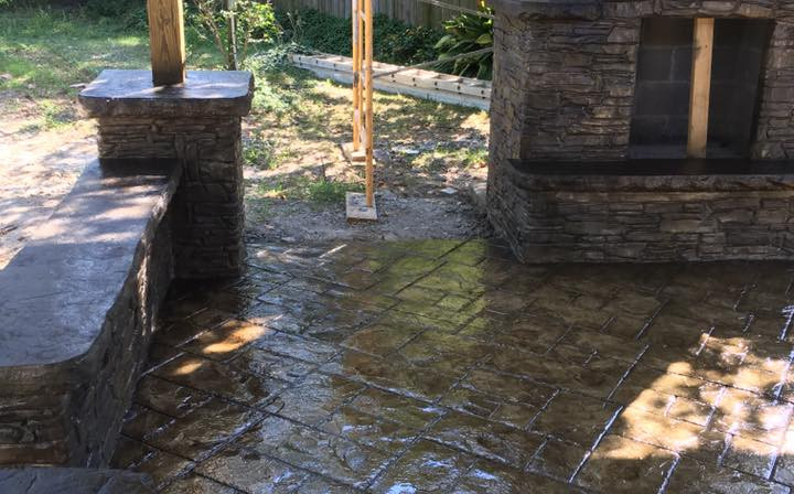 Stamped Patio with custom fireplace