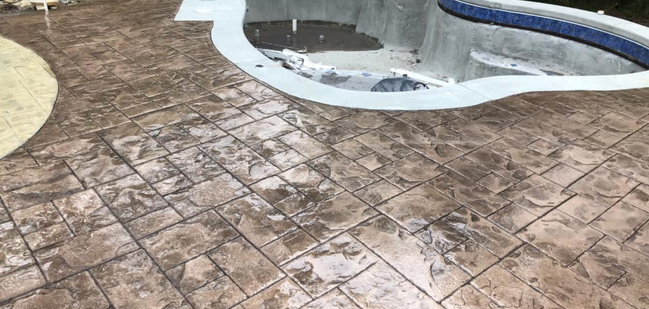 Stamped/Colored Patio around pool