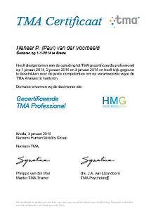 TMA methode training Certificaat