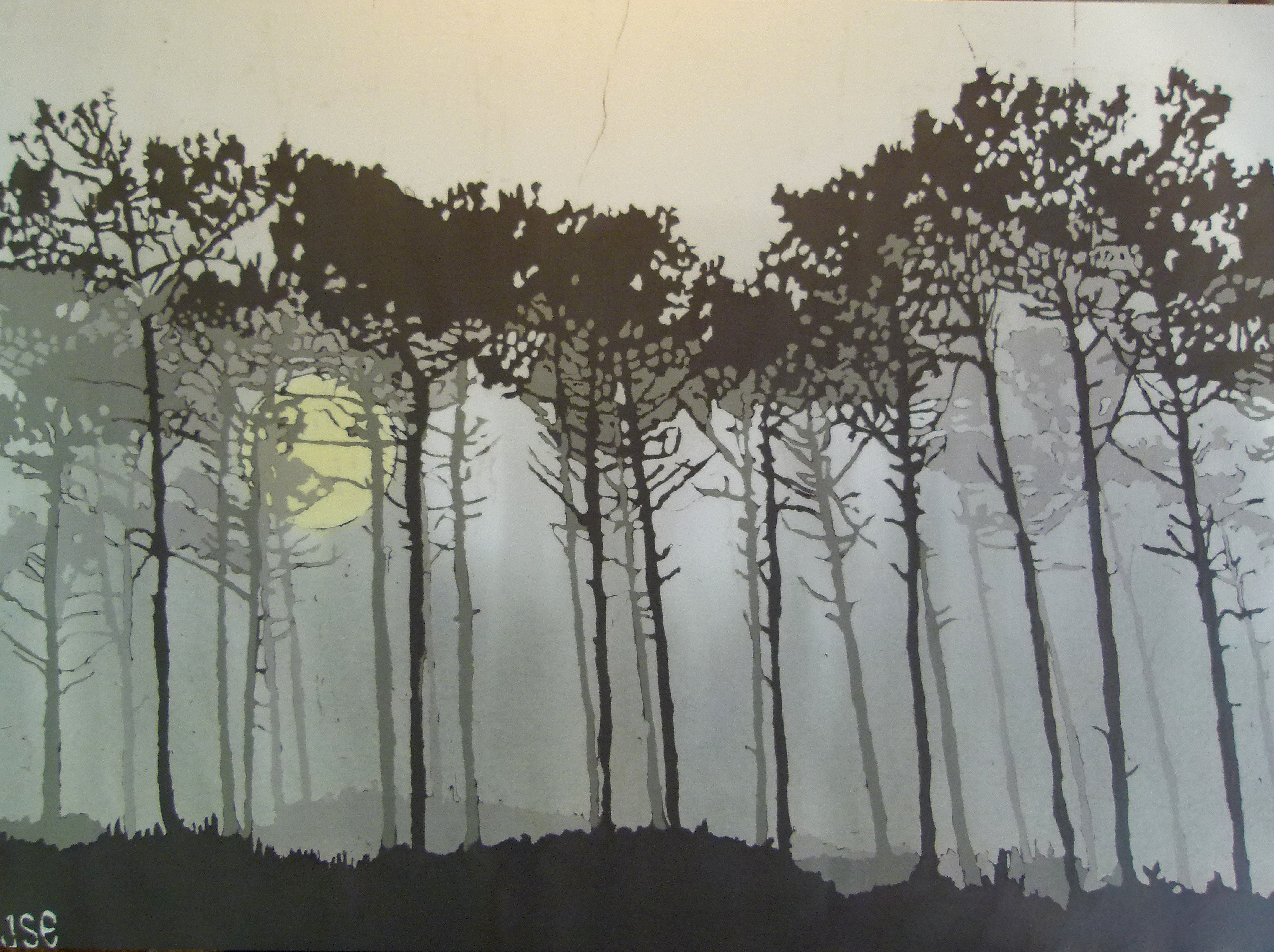 Trees in the Mist-Batik by Jonathan