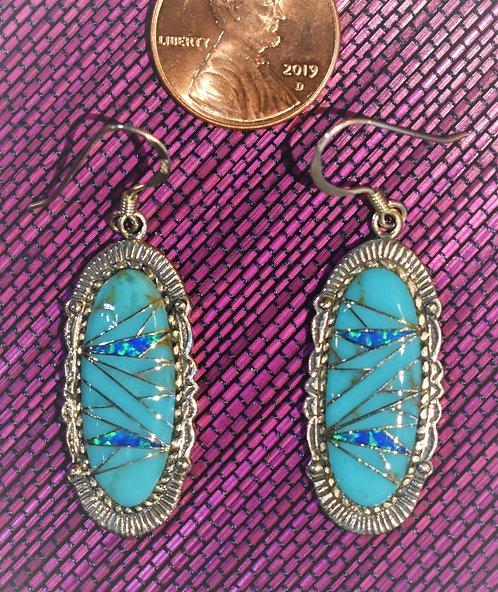 Turquoise, Opal & Silver Earrings